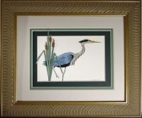 Quilled Blue Heron Fishing