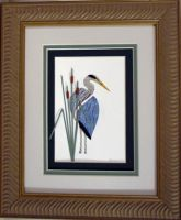 Quilled Blue Heron Turned